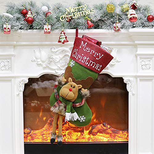 ETLEE Christmas Stockings Plush, 23'' Christmas Decoration for Mantel Hanging Xmas Party Gift Home Decor Accessories - Santa/Reindeer/ Snowman (Reindeer) ()