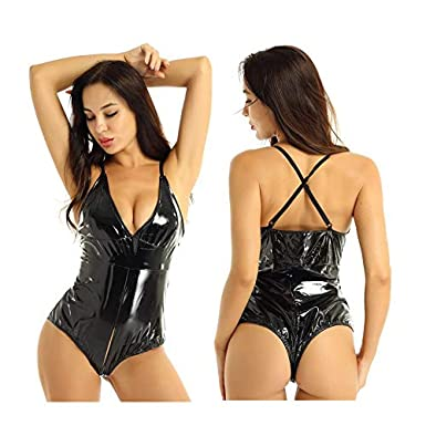 CHICTRY Lingerie for Women Faux Leather Teddy Bodysuit V Neck Hollow Out Chemise Nightwear