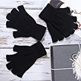 Cooraby 2 Pairs Unisex Warm Half Finger Gloves