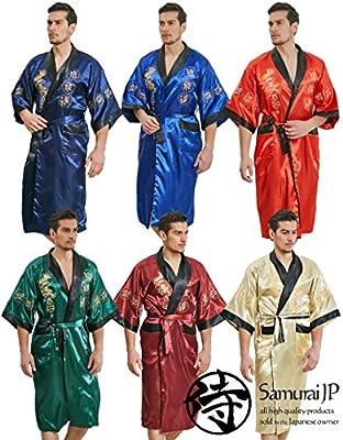 samurai JP Men's Kimono Robe Style Satin Relaxation Bathrobe (Dragon Series/Night Gown) with Towel