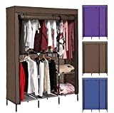Anfan Clothes Closet Portable Wardrobe Clothes Storage Rack with Shelves Fabric Cover (COFFEE-1)