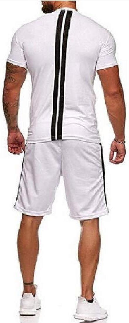 JYZJ Mens Casual Sport Gym Workout 2 Piece Suits Summer T-Shirt Shorts Tracksuits