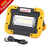 SUNZONE Portable LED Work Light,Outdoor COB Waterproof Flood Lights, for Camping,Hiking,Car Repairing,Workshop,Construction Site,Builtin