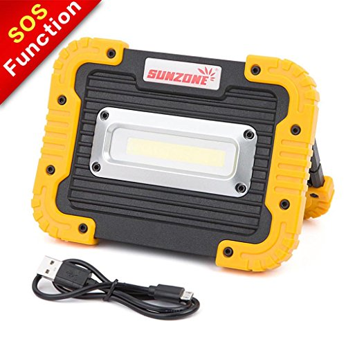 SUNZONE Portable LED COB Work Light,Outdoor Waterproof Flood Lights, for Camping,Hiking,Car Repairing,Workshop,Construction Site,Builtin Rechargeable Battery Power Bank and SOS Emergency Mode(Yellow) by SUNZONE
