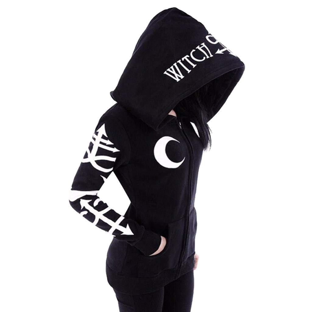 Women Gothic Jacket Punk Zip-up Witchcraft Moon Print Long Sleeve Black Hoodie Cardigan Coat
