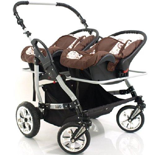 Zwillingskinderwagen mit babyschale  Adbor Zwillingskinderwagen Duo mit Babyschale Nr.65 schwarz / pink ...