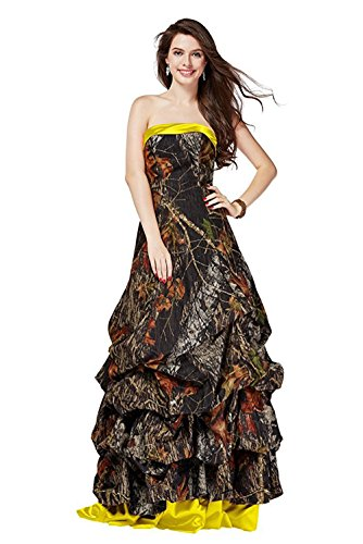 PrettyWish Unique Camo Prom Party Dress Strapless Ruffles Ball Gown Dresses Camo&Yellow us8