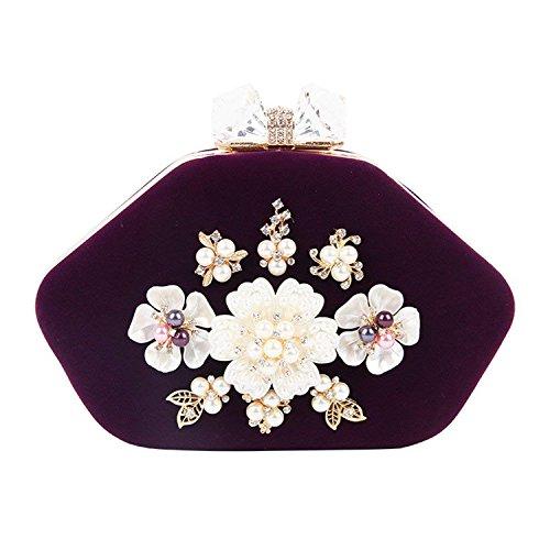 Messenger Diamond Velour Purse Women Women Bag Wedding Handbag Ladies Purple Party Evening ON Chain Women Clutch Rising Bag Bag Bags q86xBTEwW