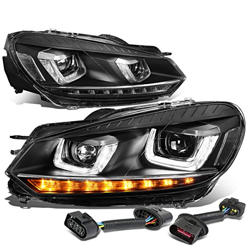 10 Vw Golf - DNA Motoring HL-DRL-GOLF608-BK LED DRL/Sequential Signal Projector Headlight (For 10-14 VW Golf/GTI)