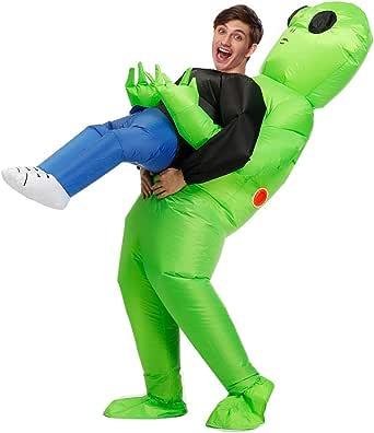 Wild Cheers Inflatable Alien Costume, Fancy Dress, Inflatable Costume Suitable for Party, Halloween, Christmas Green