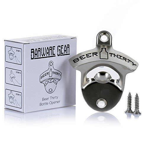 Beer Thirty Wall Mounted Bottle Opener with Free Stainless Steel Mounting Screws by Barware Gear