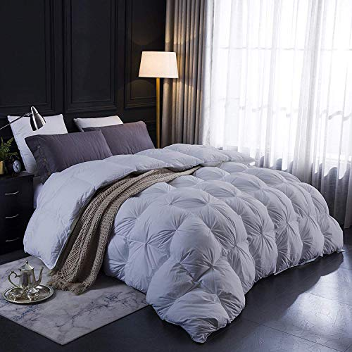 All-Season Goose Down Pinch Pleated Comforter 100% Egyptian Cotton 1000-TC Corner Tebs Hypoallergenic Wrinkle & Fade Resistant Box Pintuck Comforter Set 118×110″ Estern King Silver Gray Solid