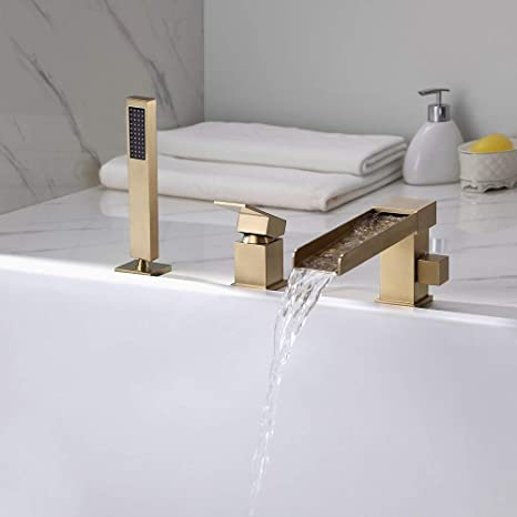 lovedima contemporary 3 hole bathroom waterfall bathtub faucet roman tub filler with handheld shower brushed gold