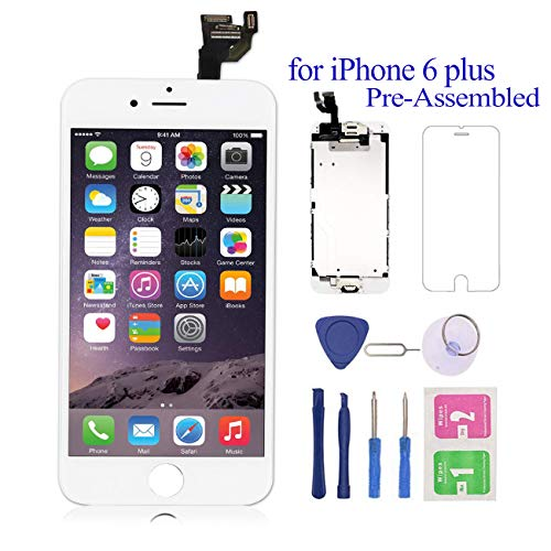 Pre-Assembled for iPhone 6 Plus Screen Replacement White 5.5 LCD Touch Digitizer Display with Front Camera+Ear Speaker+Facing Proximity Sensor with Repair Tool A1524 A1522 A1593 (Lcd Iphone 6 White)