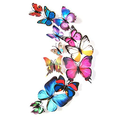 12 PC Schmetterling Wandaufkleber Bunt Schöne 3D PVC Wandtattoo Wanddeco Wohnzimmer Küche Kühlschrank Deko