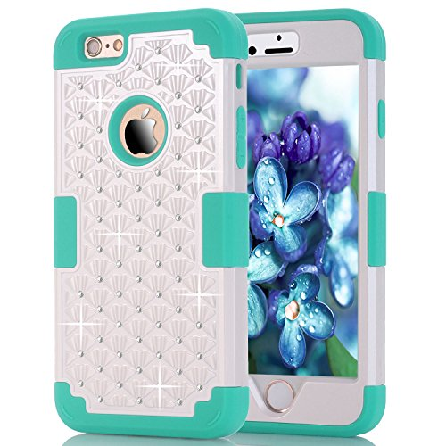 6S Plus Case, iPhone 6 Plus Case, iPhone 6S Plus Case, Speedup Diamond Studded Crystal Rhinestone 3 in 1 Bling Hybrid Shockproof Cover Silicone and Hard PC Case For iPhone 6/6S Plus (White Blue) -