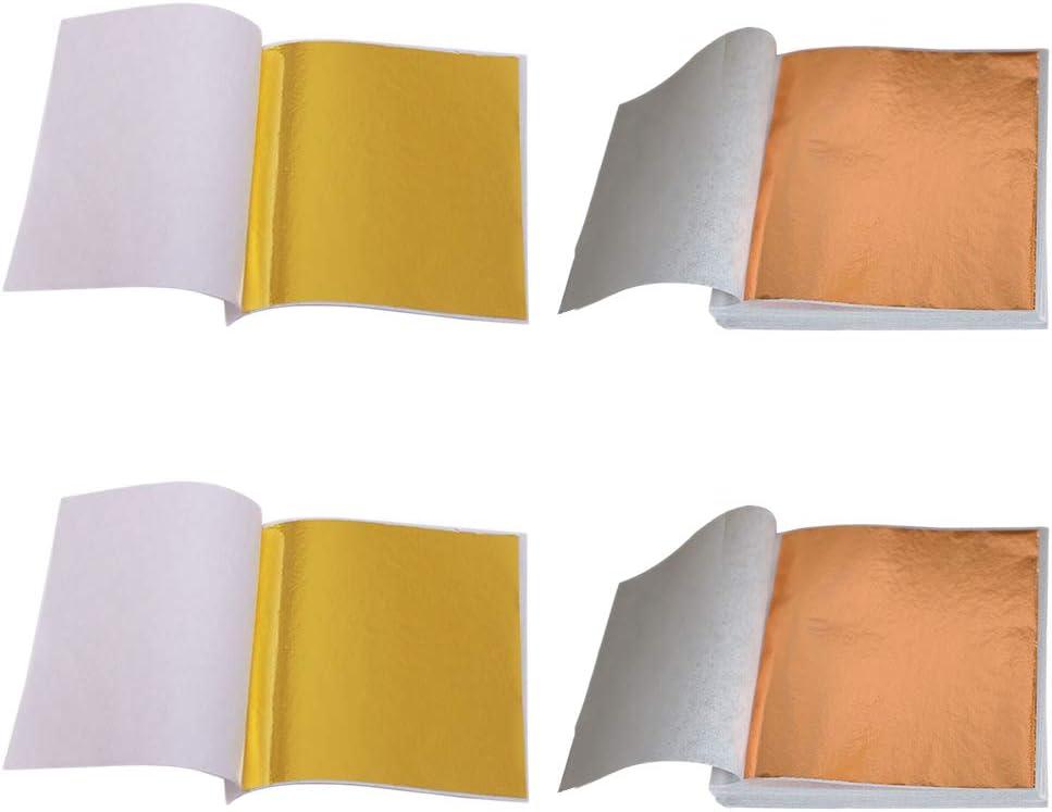 SUPVOX 200 Sheets Imitation Gold Leaf Sheet Foil Paper for Gilding Paint Arts