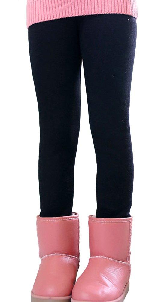 BogiWell Kid Girl Winter Cute Warm Thick Fleece Legging Pant Black(US 10-12T,Tag 150)