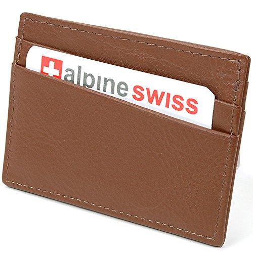 AlpineSwiss Leather Card Case Wallet Slim Super Thin 5 Card Slots Front Pocket Oak Brown