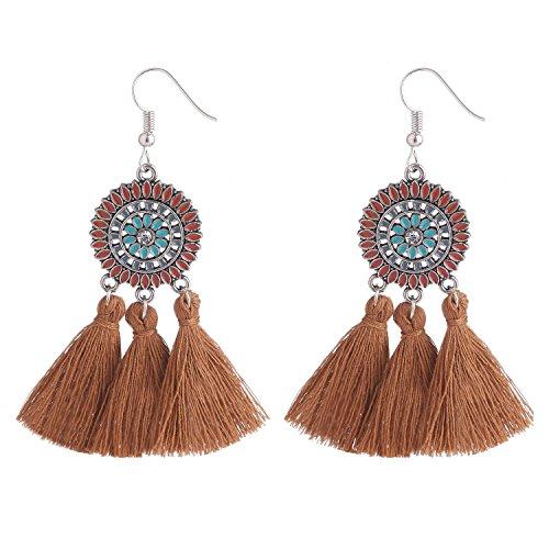 - D EXCEED Bohemian Brown Tassel Earrings Sunflower Statement Earrings Ethnic Enamel Tassels Dangle Earrings for Women