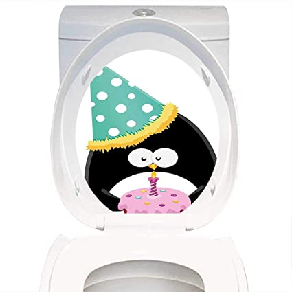 Qianhe Home Toilet Seat Sticker Birthday Decorations Adorable Funny Peinguin With Party Hat And Cake