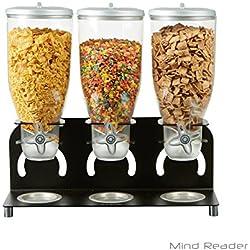 Mind Reader KELL300-BLK Metal Cereal Dispenser, triple, Black