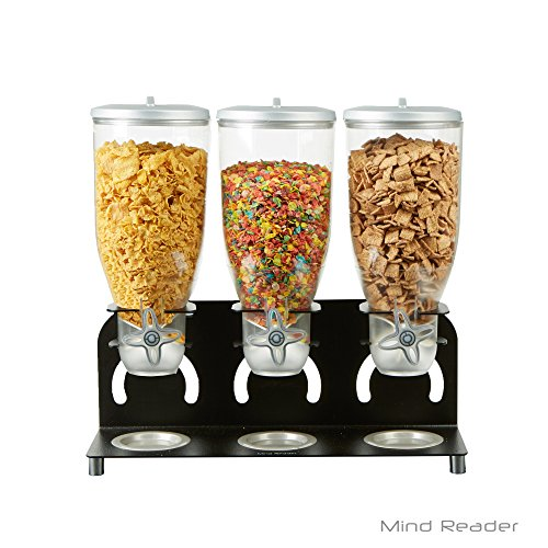 Mind Reader KELL300-BLK Metal Triple Cereal Dispenser, Black