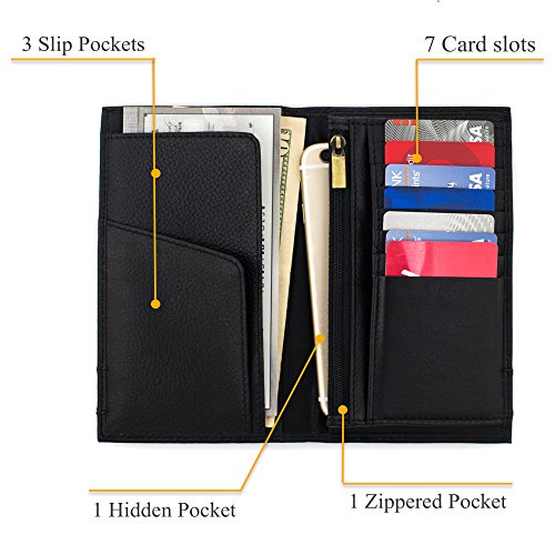 (Long Leather Bifold Wallet card case|Cheque Book Holder|Holiday Christmas gift)