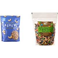 Amazon Brand - Happy Belly Fancy Whole Cashews, 44 Ounce & Happy Belly Nuts, Chocolate & Dried Fruit Trail Mix, 48 oz