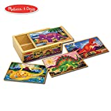 Melissa & Doug Dinosaur Jigsaw Puzzles in a Box, Four Wooden Puzzles, Beautiful Artwork, Sturdy Wooden Storage Box, 12 Pieces, 20.32 cm H x 15.24 cm W x 6.35 cm L