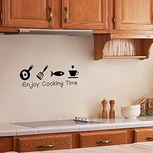 ufengke home Palabras Sencillos de Enjoy Cooking Time Pegatina Adhesivo Vinilo Decorativo Pared Letras-DIY Calcomanías de...