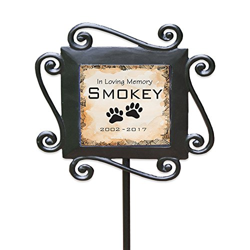 "GiftsForYouNow Personalized Pet Memorial Garden Stake, 28"" by 8.5"", Wrought Iron Stake with Decorated Ceramic Tile"