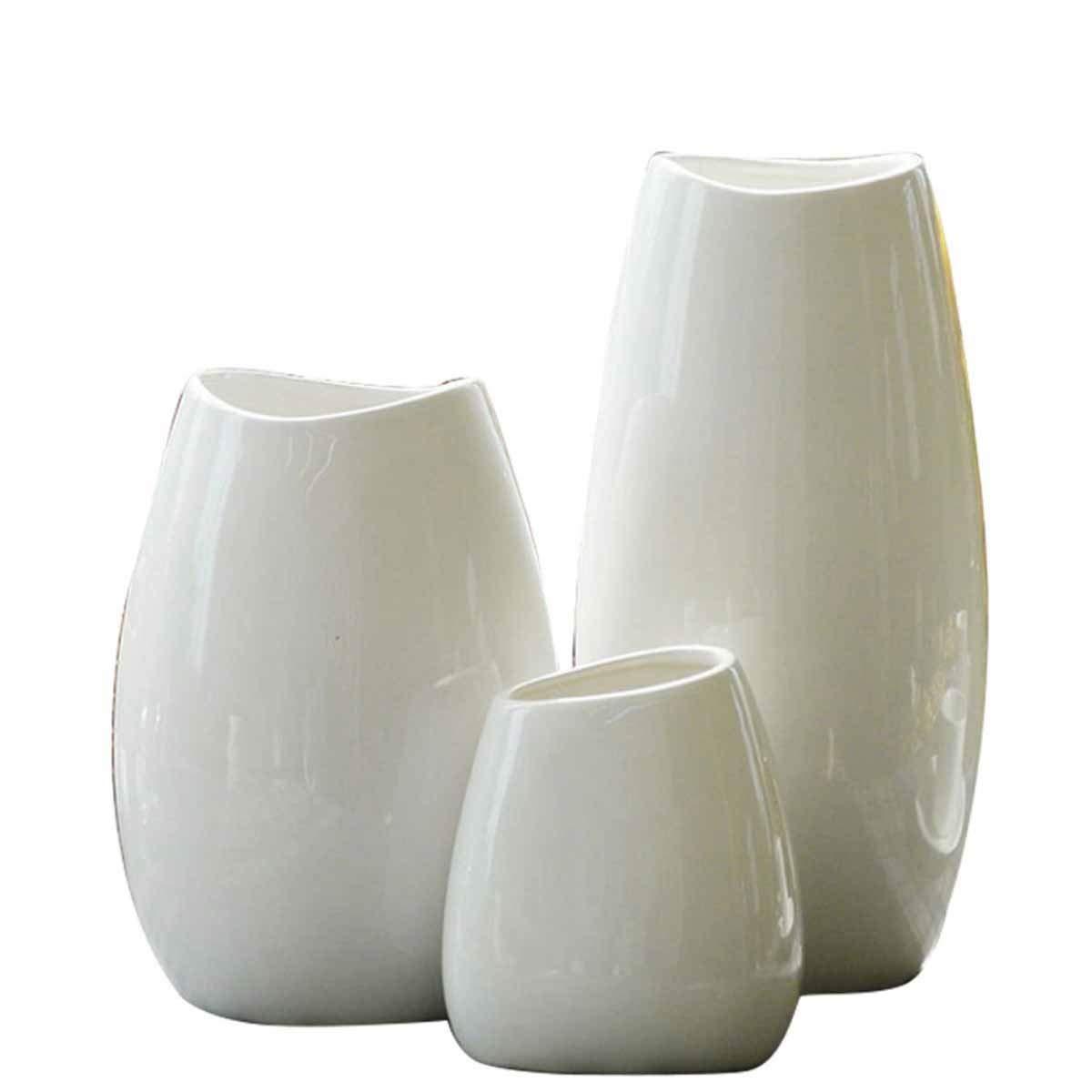花瓶、リビングルームのセラミック花瓶、アメリカのセラミック花瓶スリーピースホームデコレーション、ミディアム (Color : White, Size : Three pieces) B07RSXXTDK White Three pieces