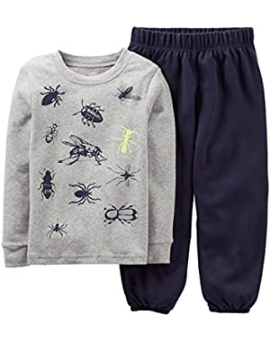 Carters Baby Boys Bugs All Over Pajama Set 12 Month Navy/grey