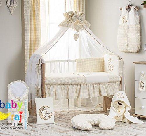 10 Pcs Cot Bed Bedding Set 140x70 cm - Bear & Moon Check Cream Babycomfort
