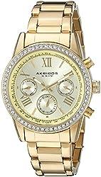 Akribos XXIV Women's AK872YG Round Champagne Dial Crystal Accent Three Hand Quartz Gold Tone Bracelet Watch