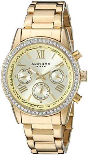 Akribos XXIV Women's AK872YG Round Champagne Dial Crystal Accent Three Hand Quartz Gold Tone Bracelet Watch