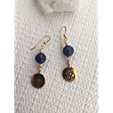 Spiritual Ohm Symbol Charm and Lapis Gemstone Earrings Yoga Jewelry
