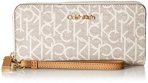 Calvin Klein Key Item Monogram Large Continental Zip Around Wallet, Textured Almond/Khaki