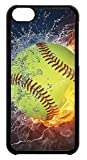 iphone 5 cases customized - Softball Theme Sport Fan Rubber Silicon Black Case Cover for iPhone 5:5S by Cases4U (Tm)