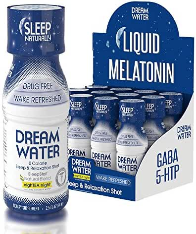 Dream Water Natural Sleep Aid, GABA, MELATONIN, 5-HTP, 2.5oz Shot, NighTEA Night, 12 Count