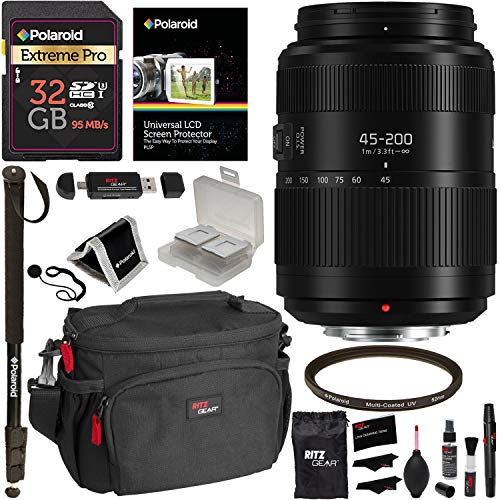 Panasonic Lumix G II Vario Lens 45-200mm F4.0-5.6 (H-FSA45200), 32GB SDHC Memory Card, DSLR Camera Bag, 72″ Monopod and Accessory Bundle