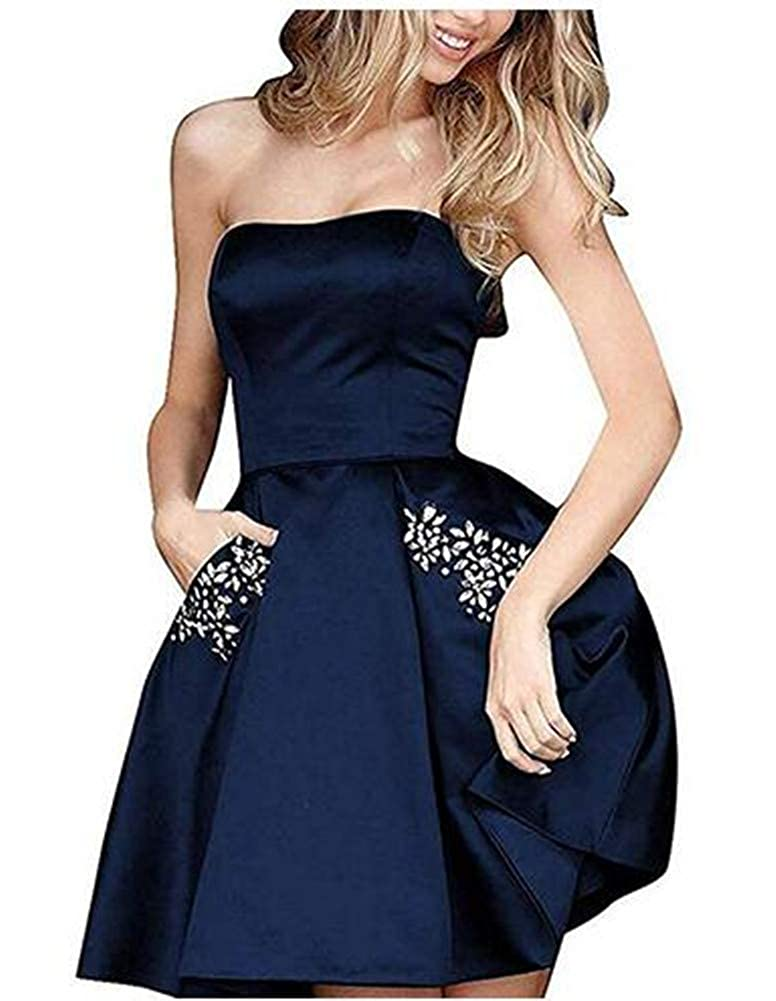 Navy bluee Aiyue Yishen Aline Off Shoulder Rhinestones Short Junior Homecoming Prom Dresses with Pocket