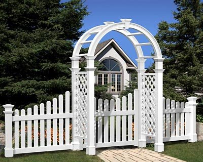 New England Nantucket Legacy Arbor with Trim, Wings, & Gate
