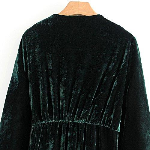 Mujer Larga Manga de para en Kimono con Abrigo V OMAS de Cuello Albornoz fWxnpPqnFO