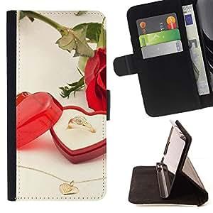 For HTC One M7 Case , Anillo de boda del amor- la tarjeta de Crédito Slots PU Funda de cuero Monedero caso cubierta de piel