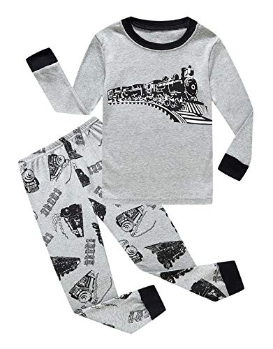 Family Feeling Train Baby Boys Long Sleeve Pajama Sets for Child 100% Cotton Sleepwears Toddler Kids Pajamas Boys Size 12-18 Months -