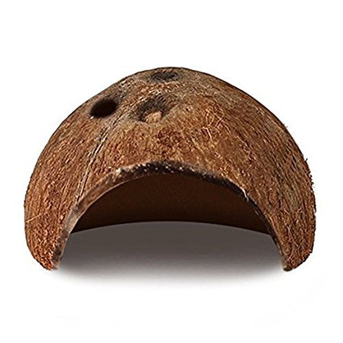 DREAMER.U Natural Coco Hut - Eco Friendly, Non-toxic, Made of Real coconut : Smooth Edges, Comfortable & Cute Hideout: Suitable for fish, pet snakes, small lizards, tarantulas, scorpions, centipede - Hut House