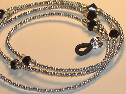 (Eyeglass Chain Metallic Silvertone Holder Necklace Glass Seed Beads 28 inches Fancy Ends)