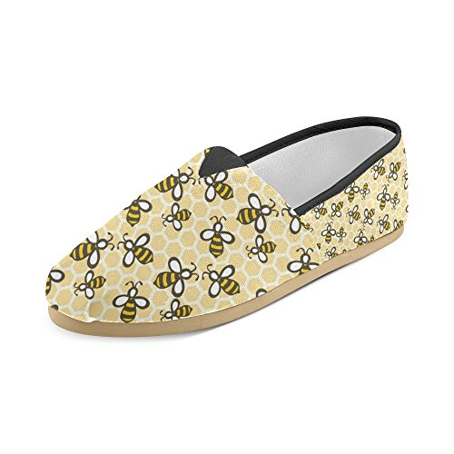 Sneakers Fashion Canvas Flats Womens D Honey on Cartoon Pattern Seamless Loafers With Shoes Classic Story Slip Bees SEBAnq5w